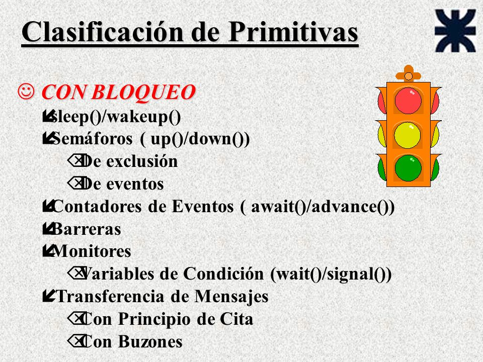 Clasificación de Primitivas J CON BLOQUEO ísleep()/wakeup() íSemáforos ( up()/down()) Õ De exclusión Õ De eventos íContadores de Eventos ( await()/advance()) íBarreras íMonitores Õ Variables de Condición (wait()/signal()) í Transferencia de Mensajes Õ Con Principio de Cita Õ Con Buzones