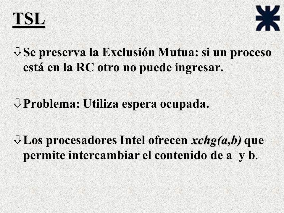 TSL òSe preserva la Exclusión Mutua: si un proceso está en la RC otro no puede ingresar. òProblema: Utiliza espera ocupada. xchg(a,b) òLos procesadore