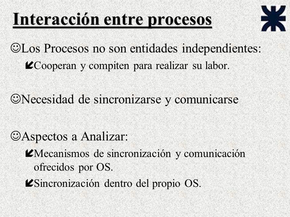 Interacción entre procesos JLos Procesos no son entidades independientes: íCooperan y compiten para realizar su labor. JNecesidad de sincronizarse y c