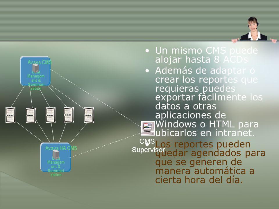 Un mismo CMS puede alojar hasta 8 ACDs Además de adaptar o crear los reportes que requieras puedes exportar fácilmente los datos a otras aplicaciones de Windows o HTML para ubicarlos en intranet.