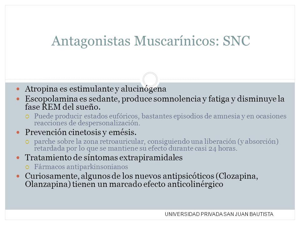 UNIVERSIDAD PRIVADA SAN JUAN BAUTISTA Antagonistas Muscarínicos: SNC Atropina es estimulante y alucinógena Escopolamina es sedante, produce somnolenci