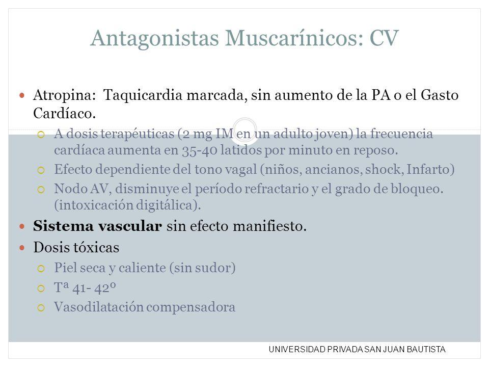UNIVERSIDAD PRIVADA SAN JUAN BAUTISTA Antagonistas Muscarínicos: CV Atropina: Taquicardia marcada, sin aumento de la PA o el Gasto Cardíaco. A dosis t