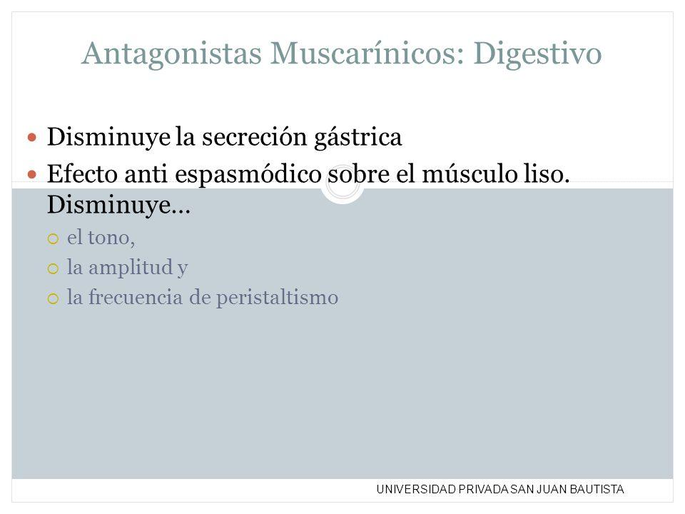 UNIVERSIDAD PRIVADA SAN JUAN BAUTISTA Antagonistas Muscarínicos: Digestivo Disminuye la secreción gástrica Efecto anti espasmódico sobre el músculo li
