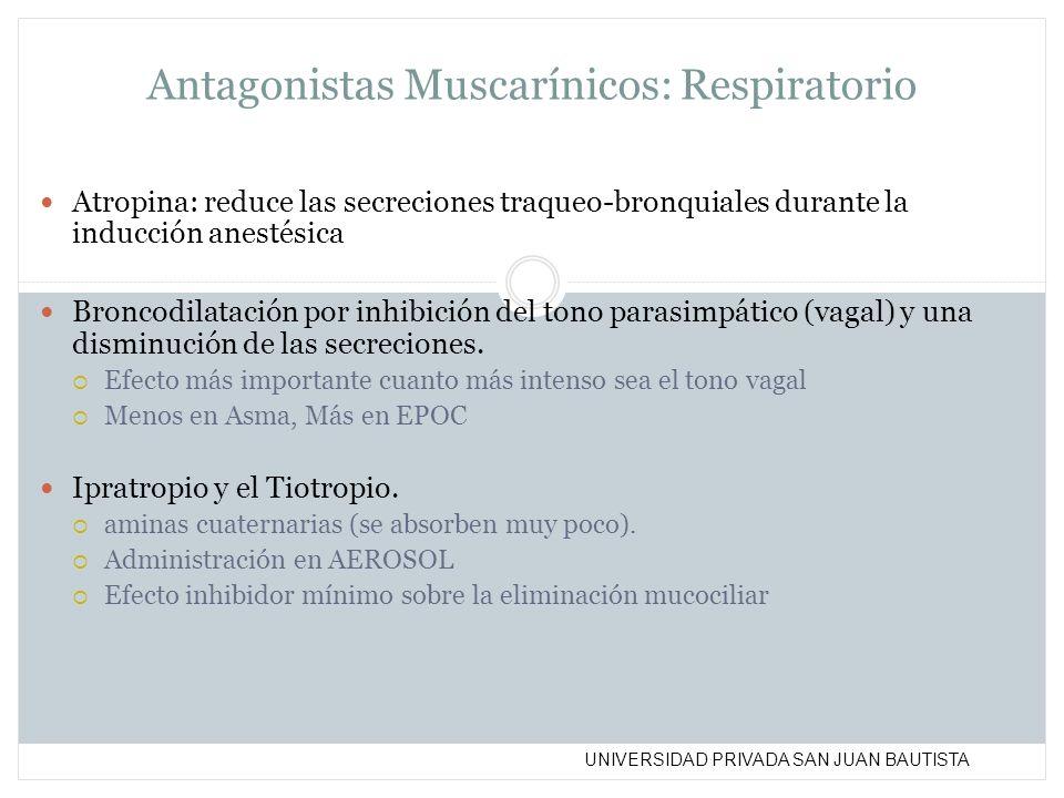 UNIVERSIDAD PRIVADA SAN JUAN BAUTISTA Antagonistas Muscarínicos: Respiratorio Atropina: reduce las secreciones traqueo-bronquiales durante la inducció