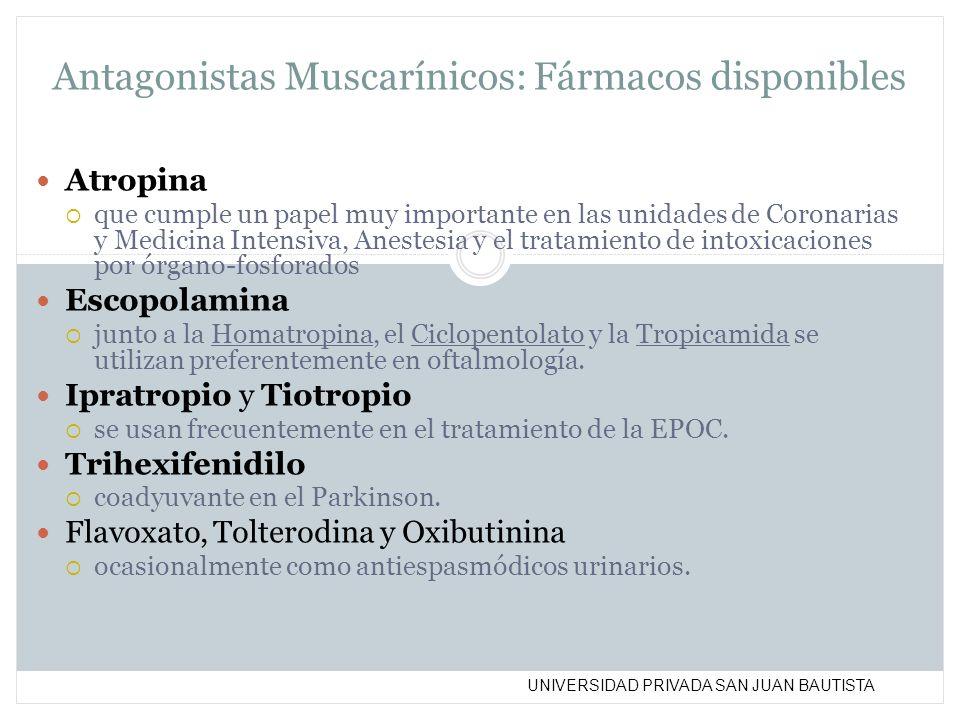UNIVERSIDAD PRIVADA SAN JUAN BAUTISTA Antagonistas Muscarínicos: Fármacos disponibles Atropina que cumple un papel muy importante en las unidades de C