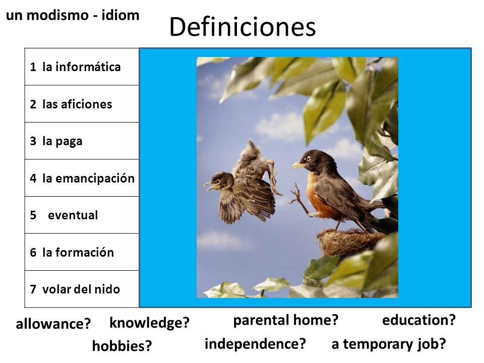Definiciones 1 la informáticatemporal 2 las aficionesla educación y los conocimientos que una persona posee 3 la paga las técnicas y los conocimientos