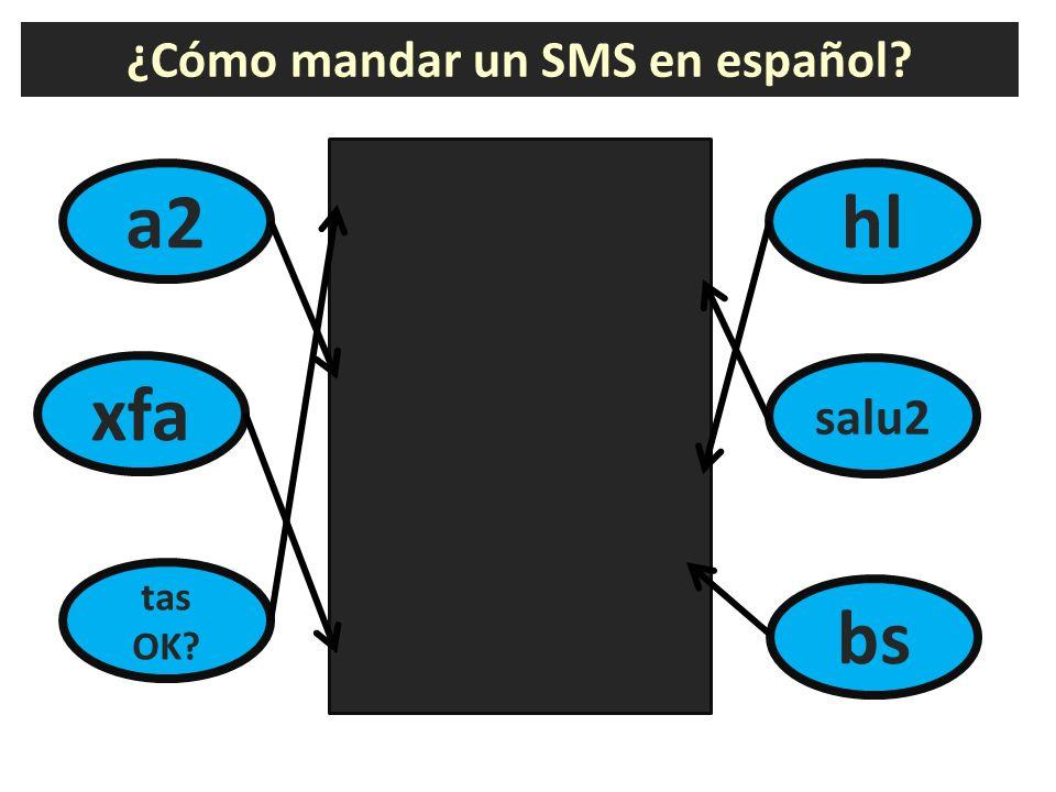 ¿Cómo mandar un SMS en español? a2 ¿Estás bien? saludos adiós hasta luego besos por favor hl xfa tas OK? salu2 bs