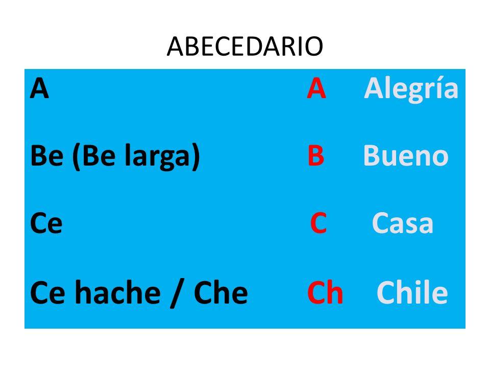 ABECEDARIO A A Alegría Be (Be larga) B Bueno Ce C Casa Ce hache / Che Ch Chile