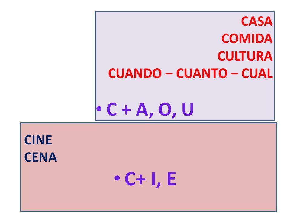 CASA COMIDA CULTURA CUANDO – CUANTO – CUAL C + A, O, U CINE CENA C+ I, E