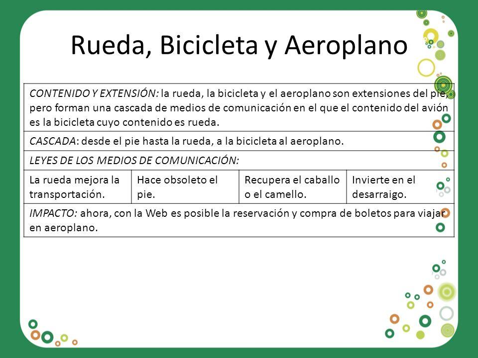 Rueda, Bicicleta y Aeroplano CONTENIDO Y EXTENSIÓN: la rueda, la bicicleta y el aeroplano son extensiones del pie, pero forman una cascada de medios d