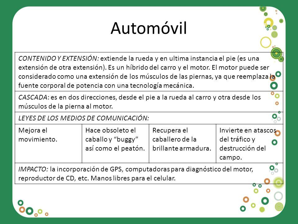 Automóvil CONTENIDO Y EXTENSIÓN: extiende la rueda y en ultima instancia el pie (es una extensión de otra extensión). Es un híbrido del carro y el mot