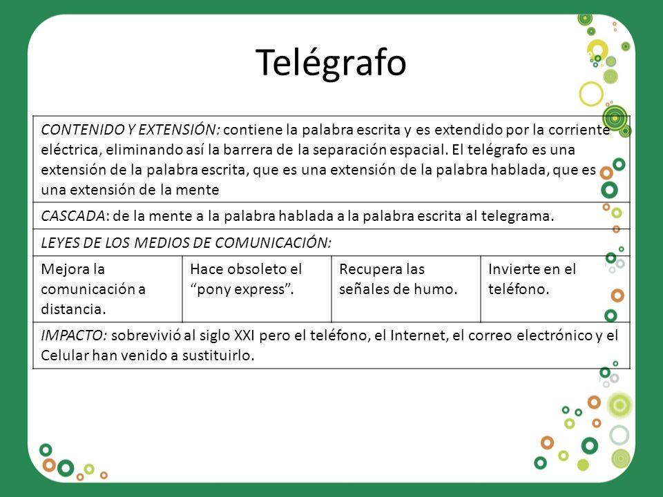 Telégrafo CONTENIDO Y EXTENSIÓN: contiene la palabra escrita y es extendido por la corriente eléctrica, eliminando así la barrera de la separación esp