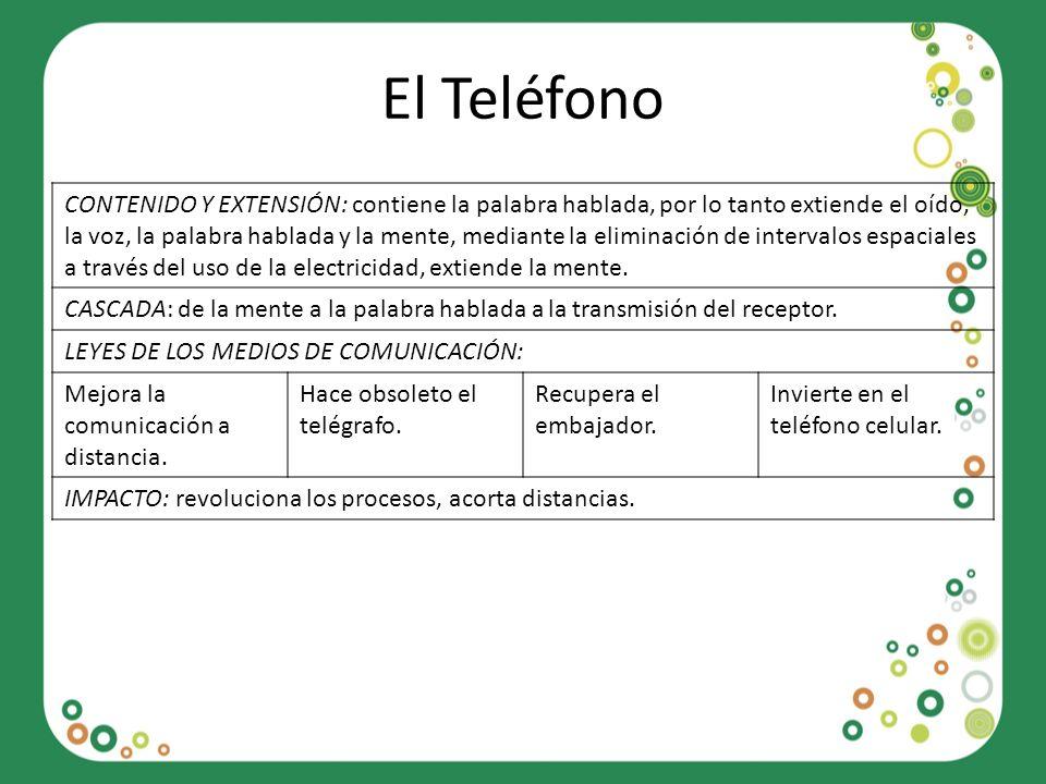 El Teléfono CONTENIDO Y EXTENSIÓN: contiene la palabra hablada, por lo tanto extiende el oído, la voz, la palabra hablada y la mente, mediante la elim