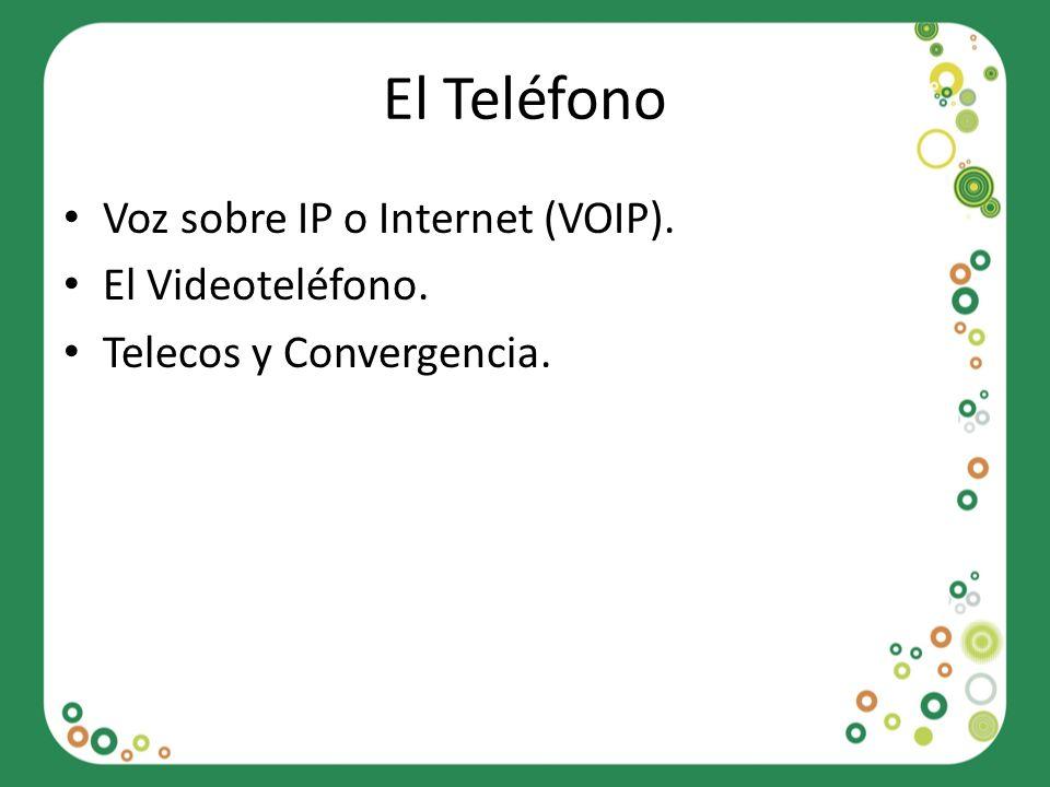 El Teléfono Voz sobre IP o Internet (VOIP). El Videoteléfono. Telecos y Convergencia.