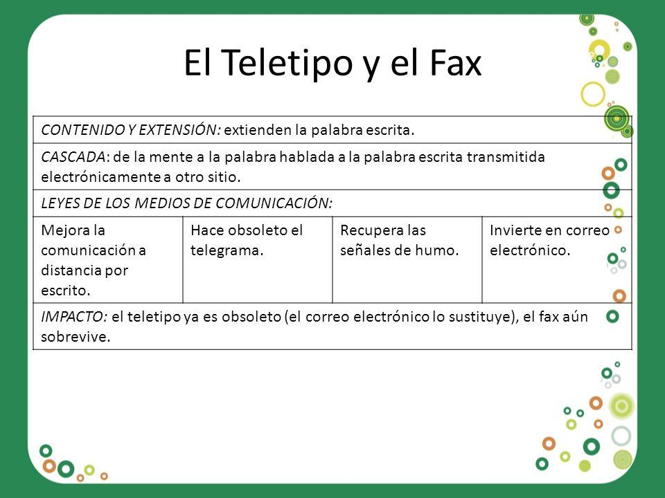 El Teletipo y el Fax CONTENIDO Y EXTENSIÓN: extienden la palabra escrita. CASCADA: de la mente a la palabra hablada a la palabra escrita transmitida e