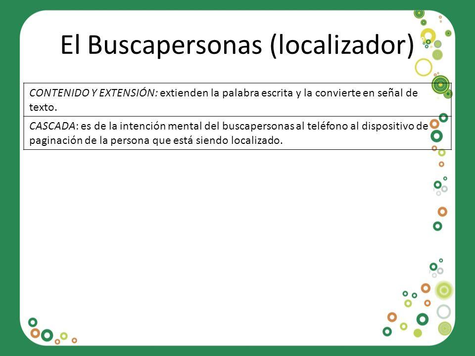 El Buscapersonas (localizador) CONTENIDO Y EXTENSIÓN: extienden la palabra escrita y la convierte en señal de texto. CASCADA: es de la intención menta