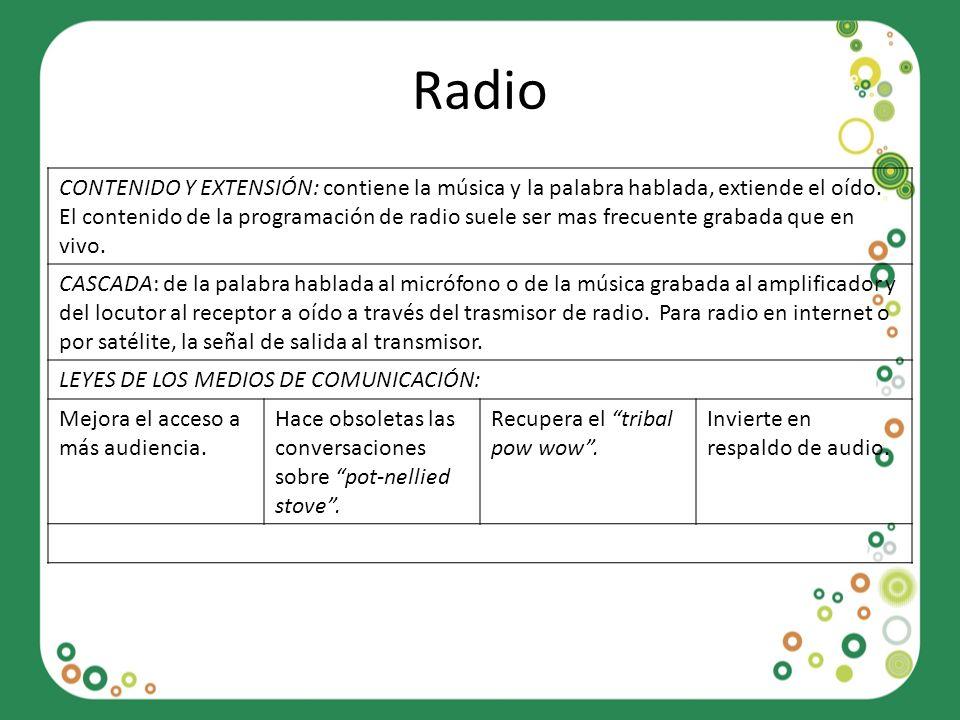 Radio CONTENIDO Y EXTENSIÓN: contiene la música y la palabra hablada, extiende el oído. El contenido de la programación de radio suele ser mas frecuen