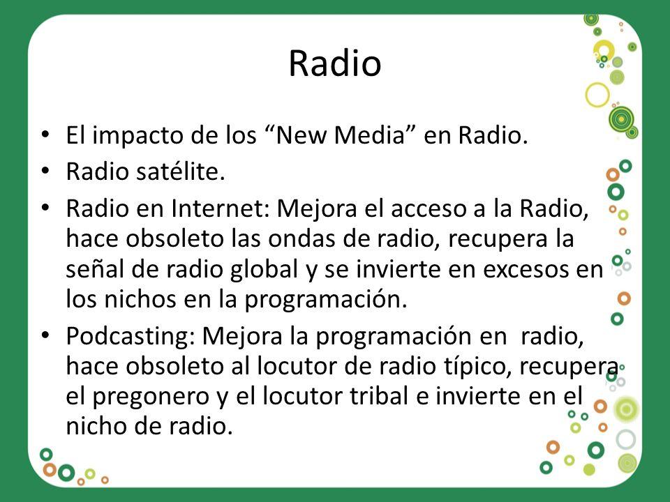 Radio El impacto de los New Media en Radio. Radio satélite. Radio en Internet: Mejora el acceso a la Radio, hace obsoleto las ondas de radio, recupera