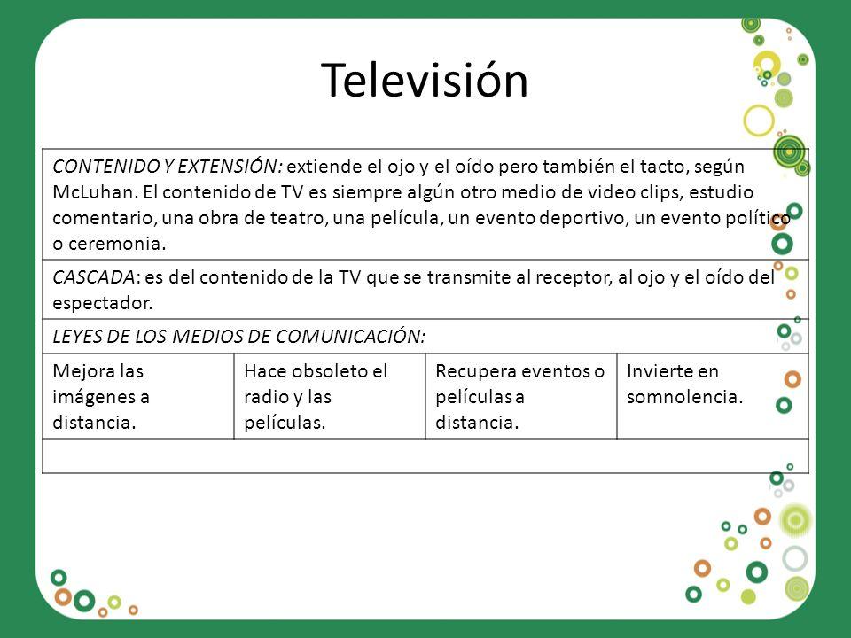 Televisión CONTENIDO Y EXTENSIÓN: extiende el ojo y el oído pero también el tacto, según McLuhan. El contenido de TV es siempre algún otro medio de vi
