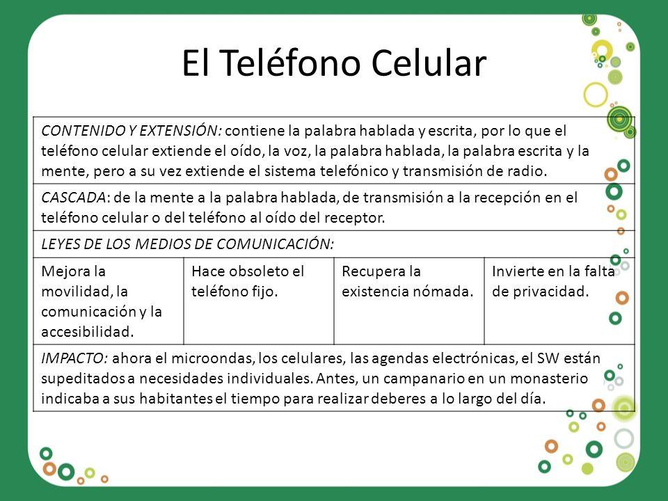 El Teléfono Celular CONTENIDO Y EXTENSIÓN: contiene la palabra hablada y escrita, por lo que el teléfono celular extiende el oído, la voz, la palabra