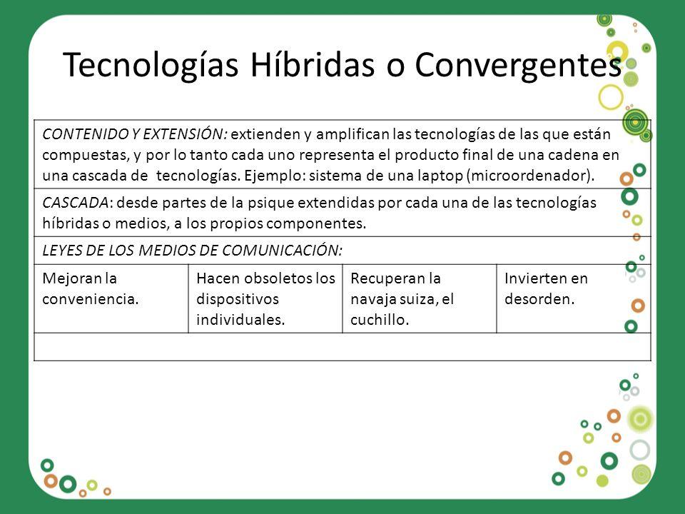 Tecnologías Híbridas o Convergentes CONTENIDO Y EXTENSIÓN: extienden y amplifican las tecnologías de las que están compuestas, y por lo tanto cada uno