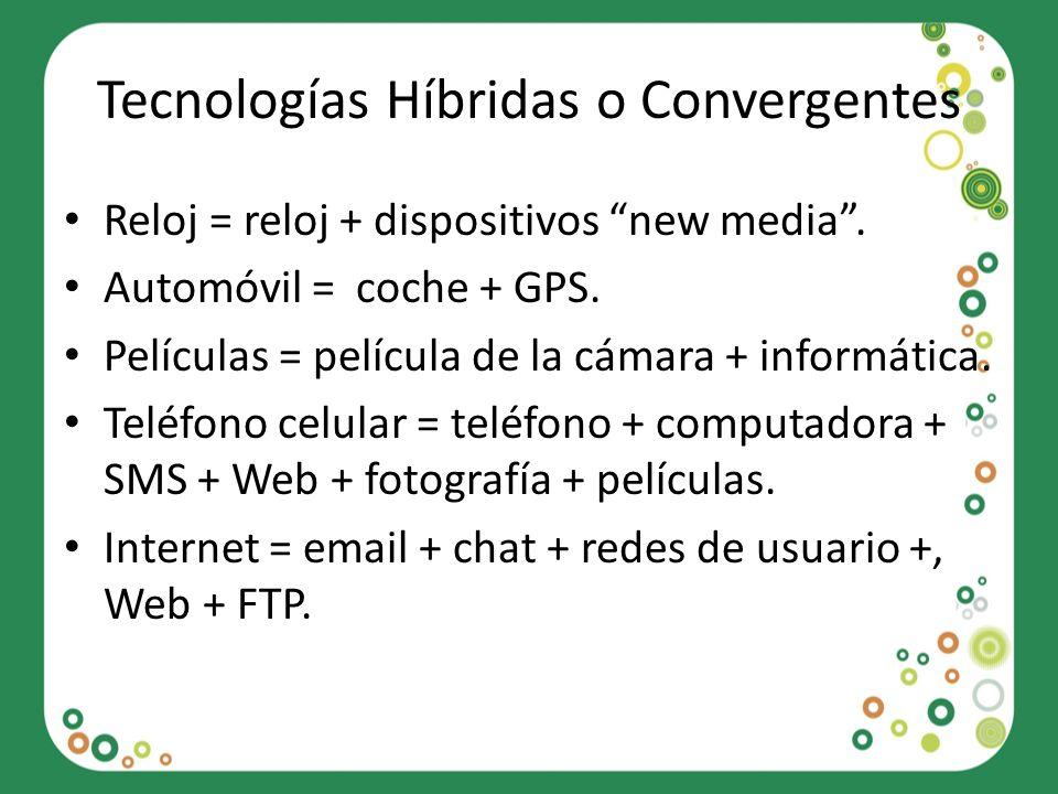 Tecnologías Híbridas o Convergentes Reloj = reloj + dispositivos new media. Automóvil = coche + GPS. Películas = película de la cámara + informática.
