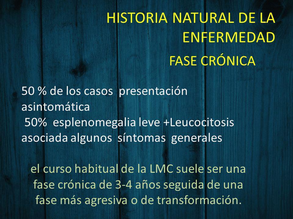 HISTORIA NATURAL DE LA ENFERMEDAD FASE CRÓNICA 50 % de los casos presentación asintomática 50% esplenomegalia leve +Leucocitosis asociada algunos sínt