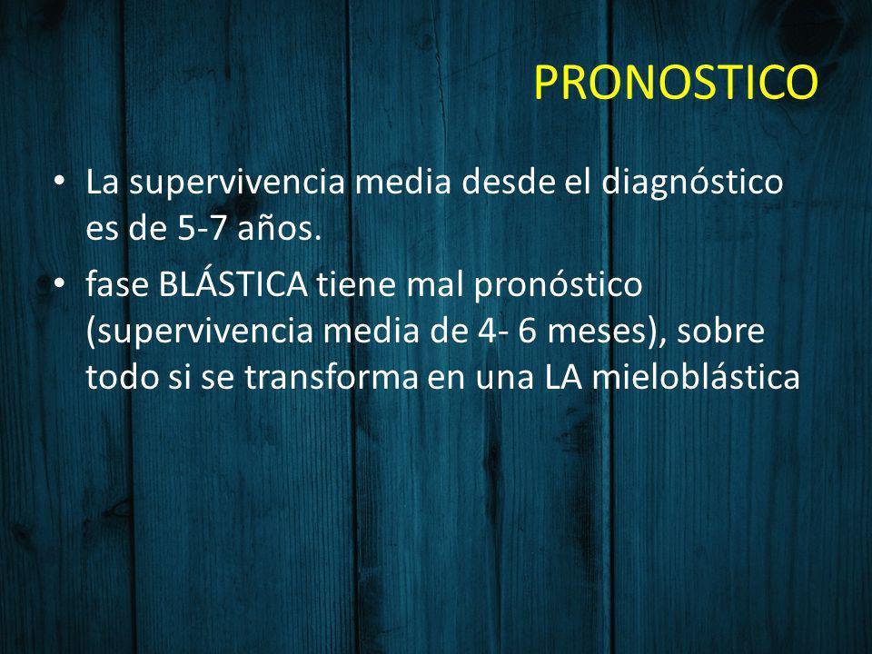 PRONOSTICO La supervivencia media desde el diagnóstico es de 5-7 años. fase BLÁSTICA tiene mal pronóstico (supervivencia media de 4- 6 meses), sobre t