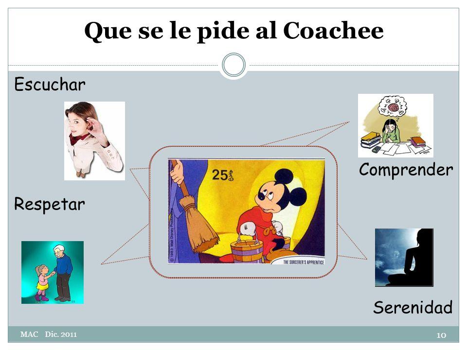 Escuchar Comprender Respetar Serenidad Que se le pide al Coachee 10 MAC Dic. 2011