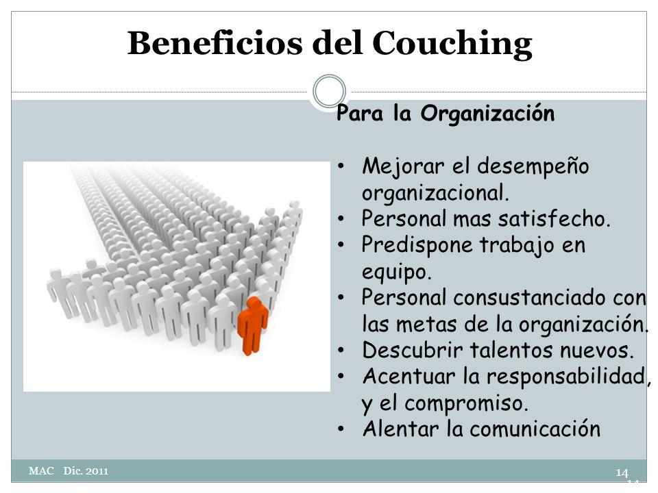 Beneficios del Couching Para la Organización Mejorar el desempeño organizacional.