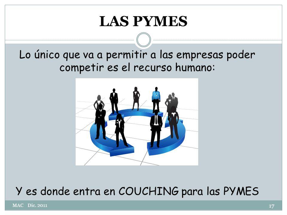 Lo único que va a permitir a las empresas poder competir es el recurso humano: Y es donde entra en COUCHING para las PYMES 17 LAS PYMES MAC Dic.