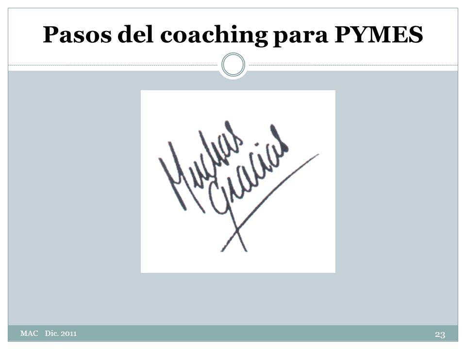 Pasos del coaching para PYMES 23 MAC Dic. 2011