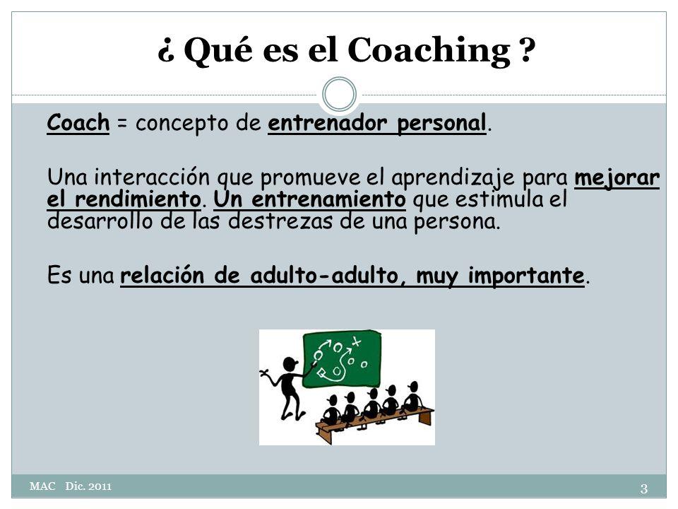 ¿ Qué es el Coaching .Coach = concepto de entrenador personal.
