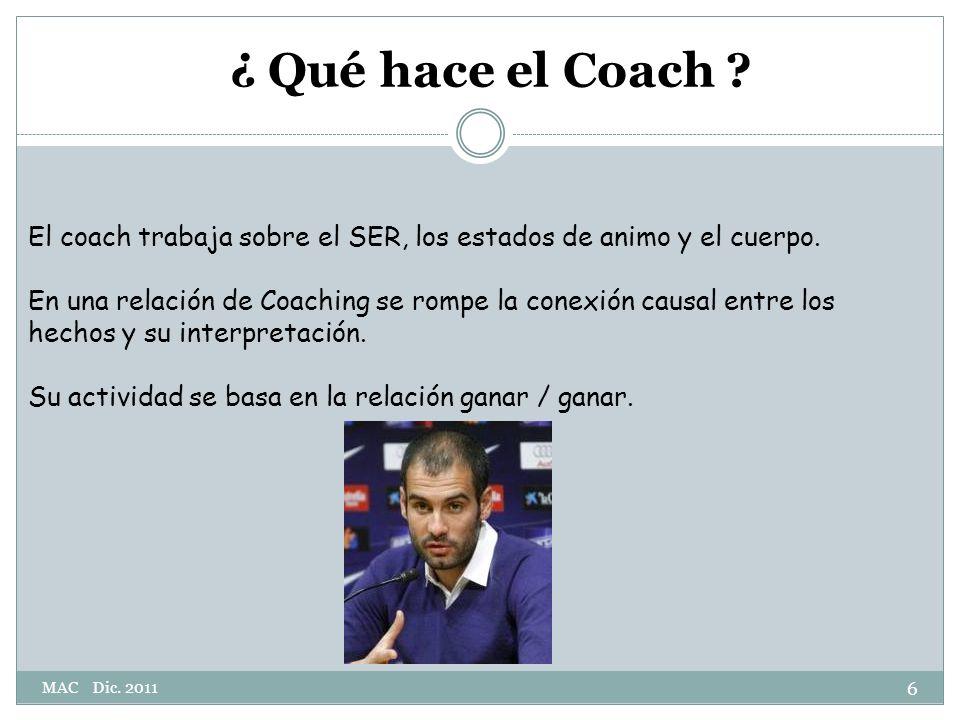 ¿ Qué hace el Coach .El coach trabaja sobre el SER, los estados de animo y el cuerpo.