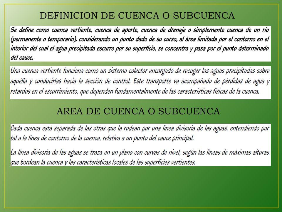 AREA DE CUENCA O SUBCUENCA DEFINICION DE CUENCA O SUBCUENCA