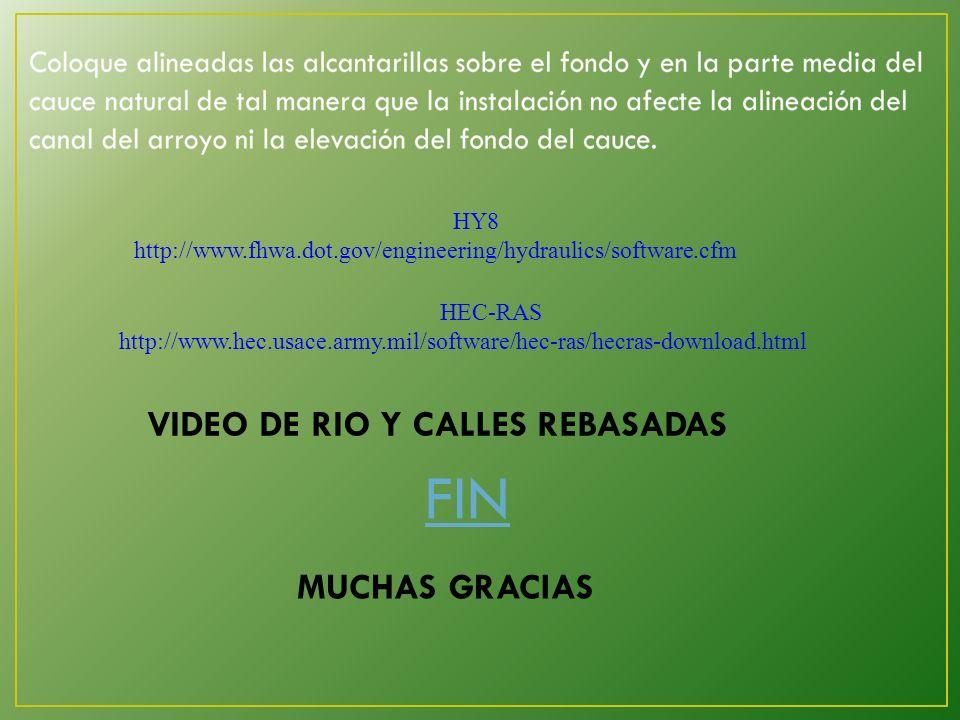 FIN HY8 http://www.fhwa.dot.gov/engineering/hydraulics/software.cfm VIDEO DE RIO Y CALLES REBASADAS MUCHAS GRACIAS HEC-RAS http://www.hec.usace.army.mil/software/hec-ras/hecras-download.html