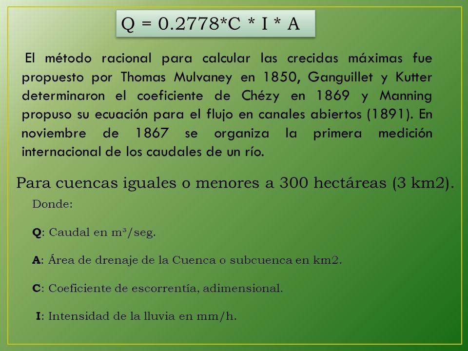 Q = 0.2778*C * I * A Para cuencas iguales o menores a 300 hectáreas (3 km2).
