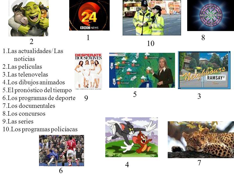 Tv 1.Las actualidades/ Las noticias 2.Las películas 3.Las telenovelas 4.Los dibujos animados 5.El pronóstico del tiempo 6.Los programas de deporte 7.L