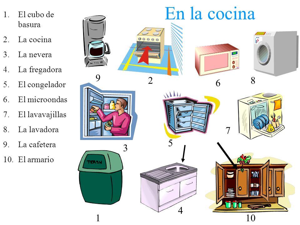 En la cocina 1.El cubo de basura 2.La cocina 3.La nevera 4.La fregadora 5.El congelador 6.El microondas 7.El lavavajillas 8.La lavadora 9.La cafetera 10.El armario 9 2 6 8 3 5 7 1 4 10