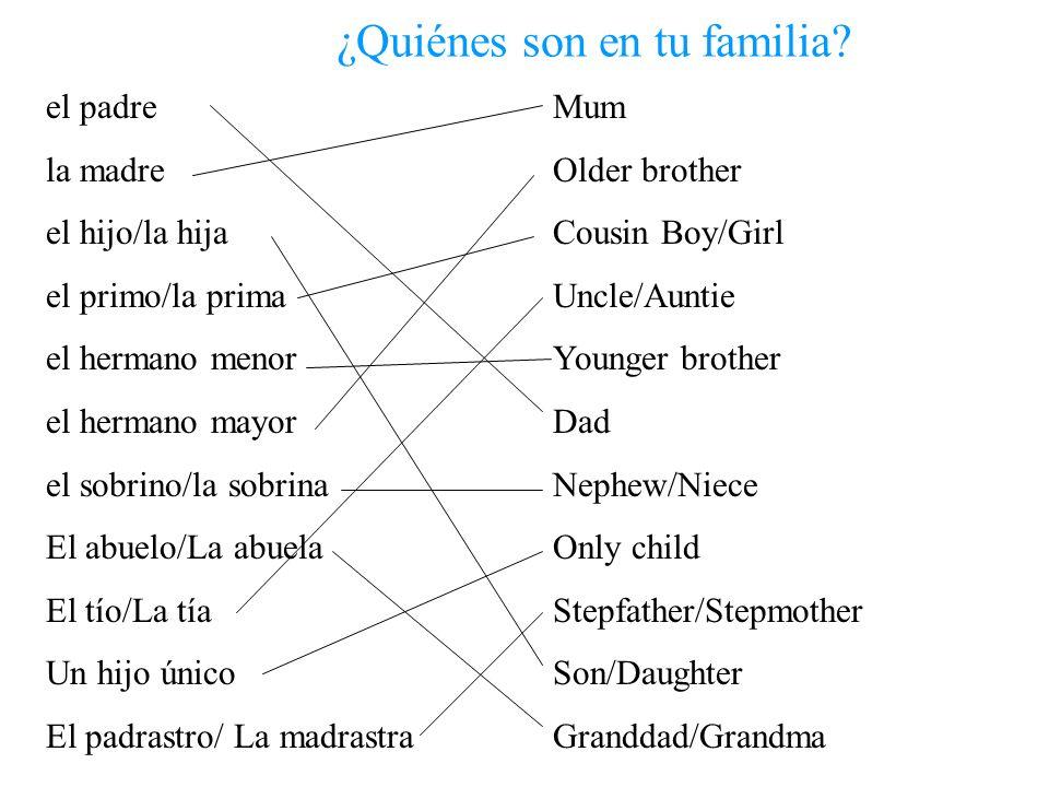 ¿Quiénes son en tu familia? el padre la madre el hijo/la hija el primo/la prima el hermano menor el hermano mayor el sobrino/la sobrina El abuelo/La a