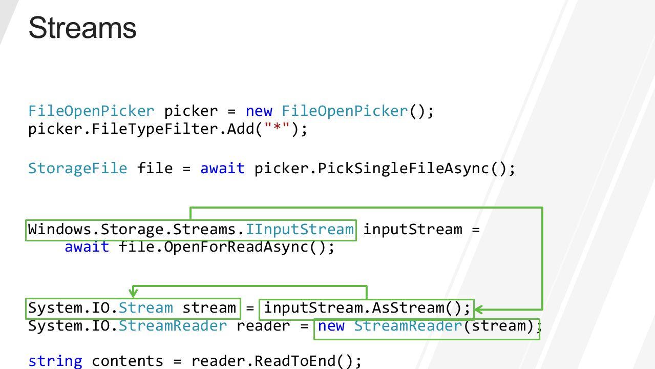 FileOpenPicker picker = new FileOpenPicker(); picker.FileTypeFilter.Add(