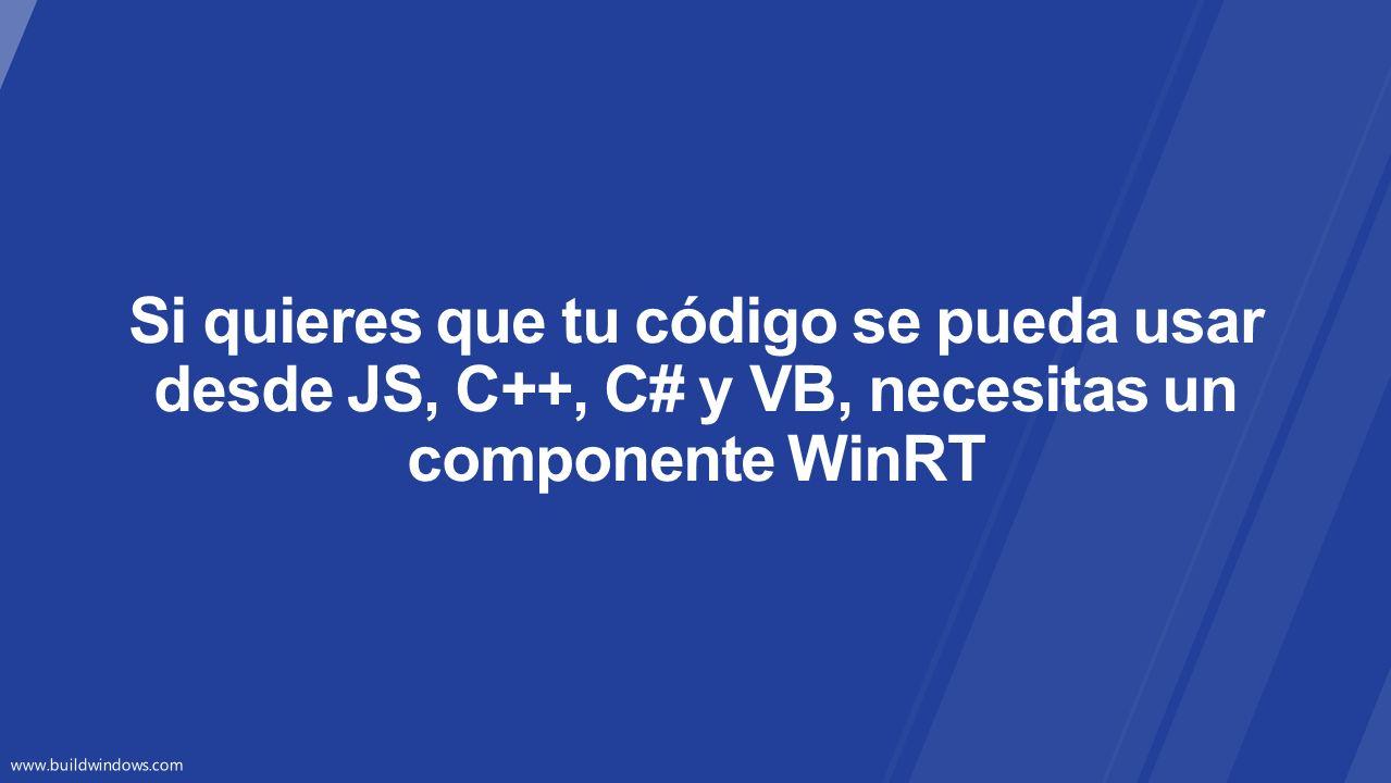 Si quieres que tu código se pueda usar desde JS, C++, C# y VB, necesitas un componente WinRT