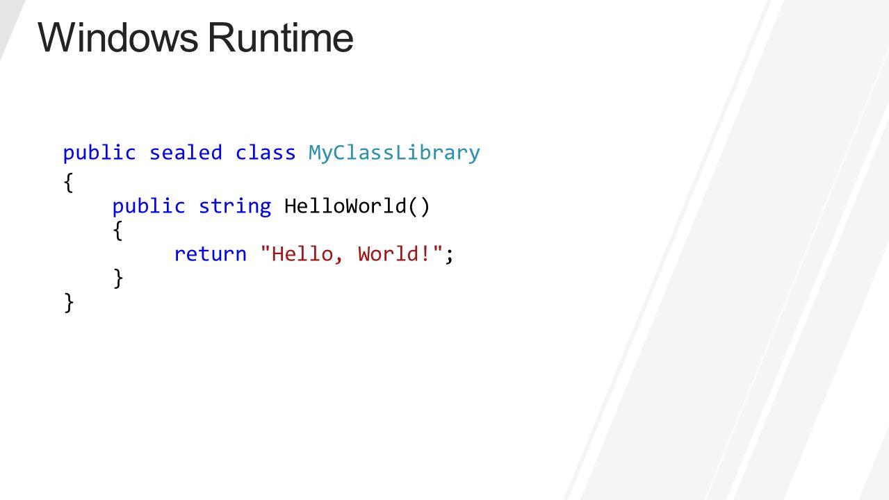 public sealed class MyClassLibrary { public string HelloWorld() { return