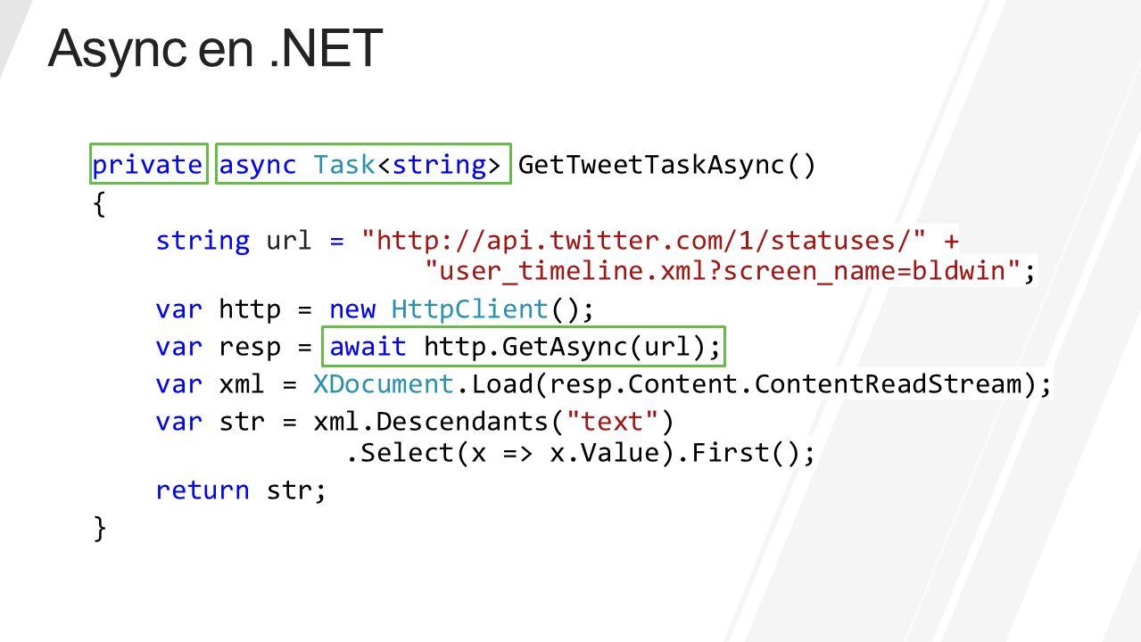 private async Task GetTweetTaskAsync() { string url =