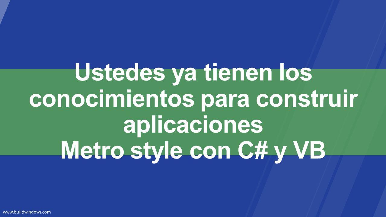 Ustedes ya tienen los conocimientos para construir aplicaciones Metro style con C# y VB