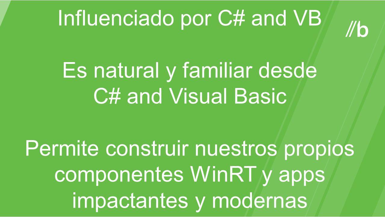 Influenciado por C# and VB Es natural y familiar desde C# and Visual Basic Permite construir nuestros propios componentes WinRT y apps impactantes y m