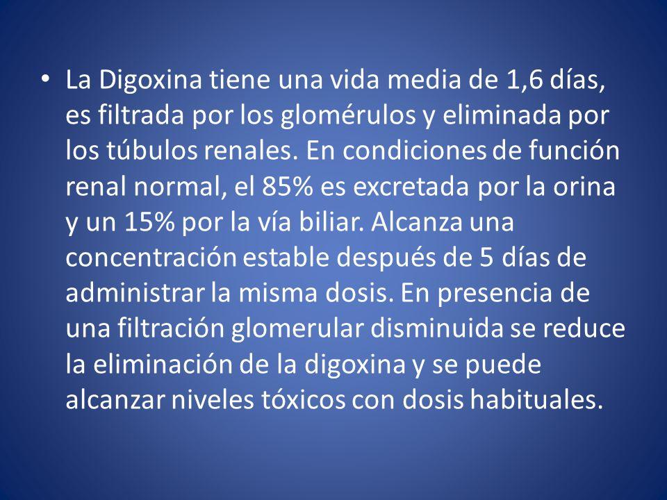 La Digitoxina tiene una vida media de aproximadamente 5 días; se metaboliza de preferencia en el hígado y sólo un 15% se elimina por el riñón.