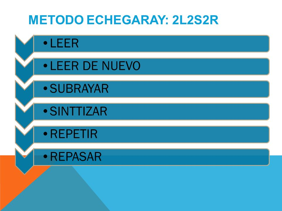 LEERLEER DE NUEVOSUBRAYARSINTTIZARREPETIRREPASAR METODO ECHEGARAY: 2L2S2R