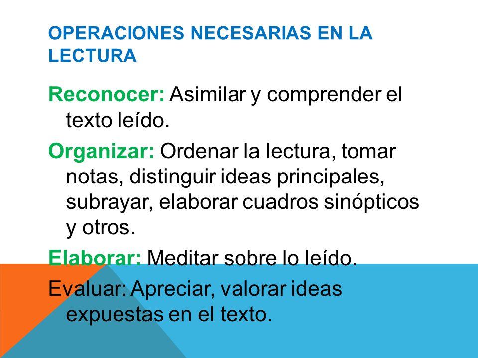 OPERACIONES NECESARIAS EN LA LECTURA Reconocer: Asimilar y comprender el texto leído. Organizar: Ordenar la lectura, tomar notas, distinguir ideas pri