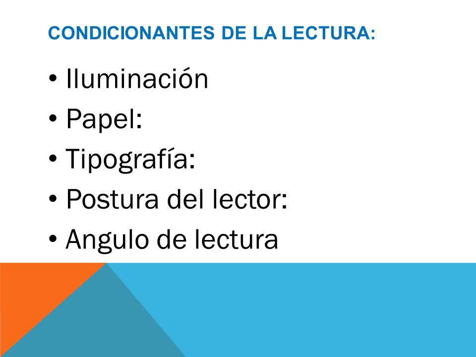 CONDICIONANTES DE LA LECTURA: Iluminación Papel: Tipografía: Postura del lector: Angulo de lectura